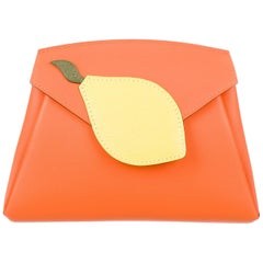 Hermes NEW Orange Yellow Green Leather Small Evening Clutch Wallet in Box