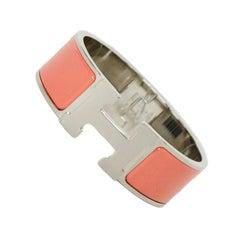 Hermes New Palladium Peche Melba Orange Wide Enamel H Clic Clac Bracelet PM