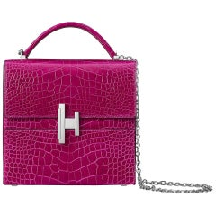 Hermes NEW Pink Alligator Exotic Leather Top Handle Satchel Chain Bag in Box