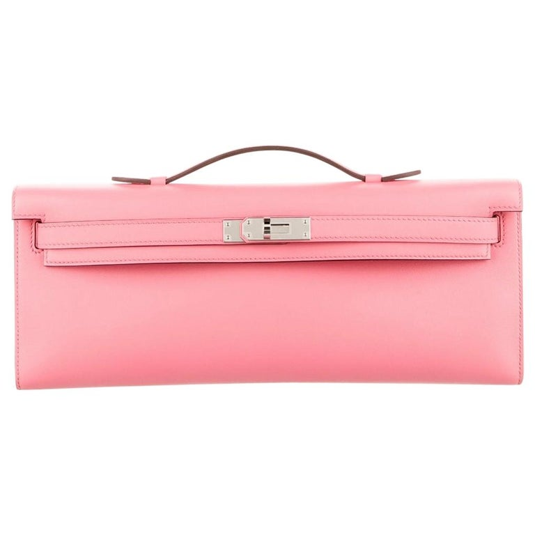 Hermes NEW Pink Kelly Evening Top Handle Clutch Bag in Box