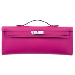 Hermes NEW Pink Leather Palladium Envelope Kelly Evening Flap Clutch Bag in Box