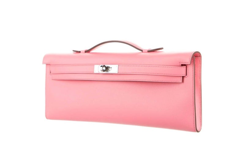 Hermes NEW Pink Leather Palladium Kelly Evening Top Handle Clutch Bag in Box In New Condition For Sale In Chicago, IL