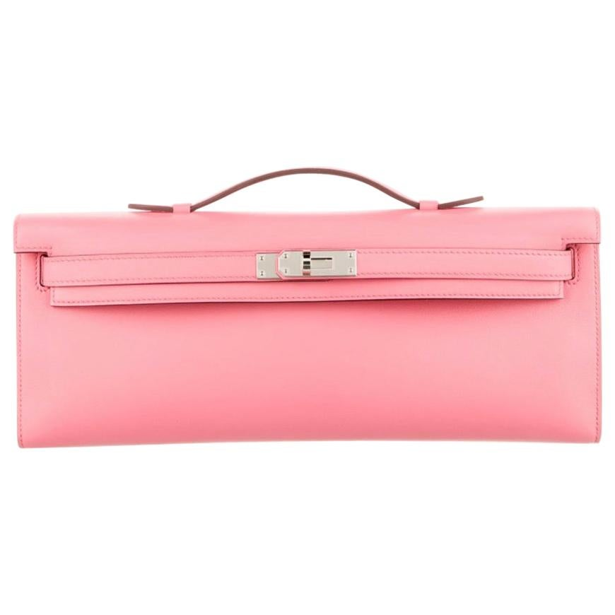 Hermes NEW Pink Leather Palladium Kelly Evening Top Handle Clutch Bag in Box