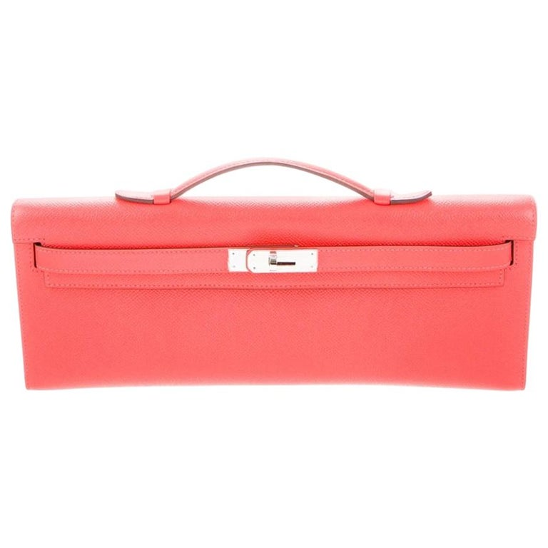 Hermes NEW Pink Leather Palladium Kelly Evening Top Handle Clutch Bag in Box For Sale