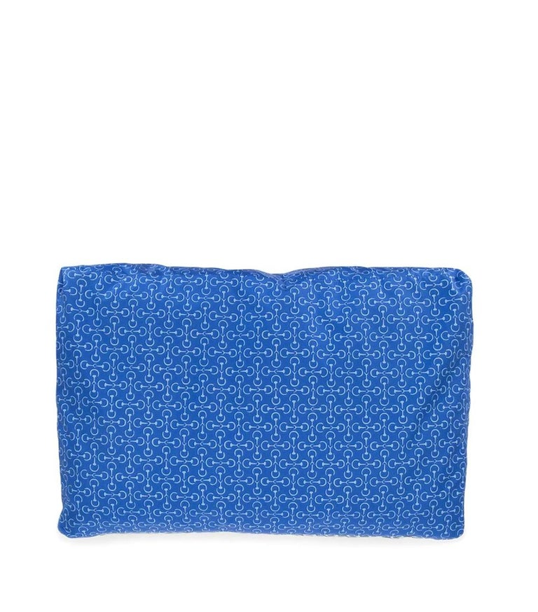 Hermes NEW Silk Blue Chaine Pattern Chair Bed Sofa Cushion Cover Pillow in Box In New Condition For Sale In Chicago, IL
