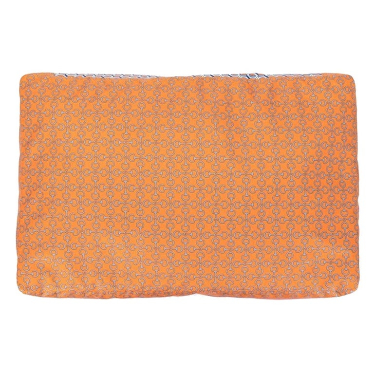 Hermes NEW Silk Orange Chaine Pattern Chair Bed Sofa Cushion Cover Pillow in Box For Sale