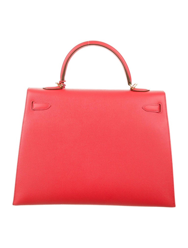 Red Hermes NEW Special Hermes Kelly 35 Rose Leather Top Handle Satchel Tote Bag