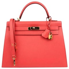 Hermes NEW Special Hermes Kelly 35 Rose Leather Top Handle Satchel Tote Bag