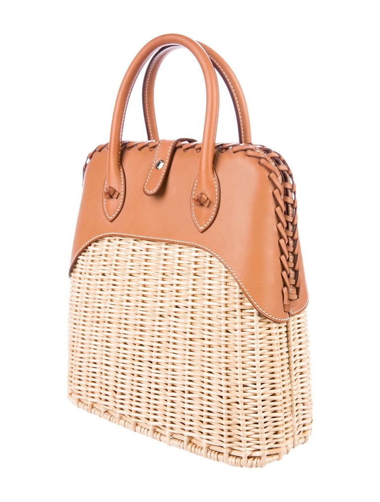 Hermes NEW Tan Wicker Picnic Cognac Leather Bolide Top Handle Satchel Bag with Dust Bag & Box  Wicker Leather Palladium plated hardware Leather lining Snap closure Made in France Handle drop 3.25