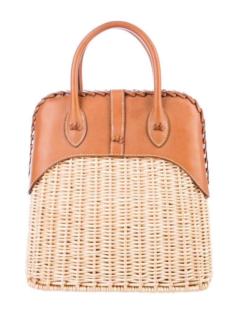 Orange Hermes NEW Tan Wicker Cognac Leather Top Handle Satchel Bag with Dust Bag & Box For Sale