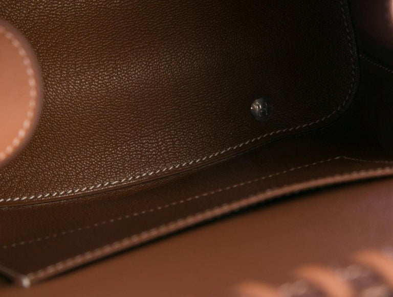 Hermes NEW Tan Wicker Cognac Leather Top Handle Satchel Bag with Dust Bag & Box In New Condition For Sale In Chicago, IL