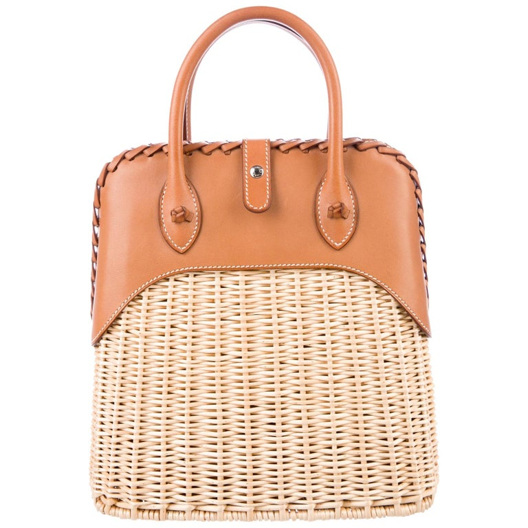 Hermes NEW Tan Wicker Cognac Leather Top Handle Satchel Bag with Dust Bag & Box For Sale