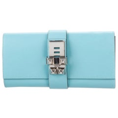 Hermes NEW Tiffany Baby Blue Leather Palladium Evening Clutch Flap Bag in Box