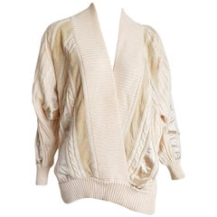 "HERMES ""New"" White Cream Wool Collection Sweater Silk Suede Strips - Unworn"