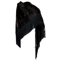 "HERMES ""New"" Wild Russian Breshvans Fur Shawl Fringes Silk - Unworn"