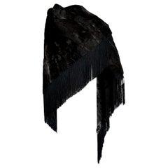 "HERMES ""New"" Wild Russian Breshvans Fur Shawl Fringes Silk - Unworn"