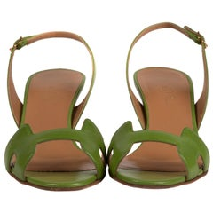 Hermès Night Sandals in green leather, size 36,5, very good condition !