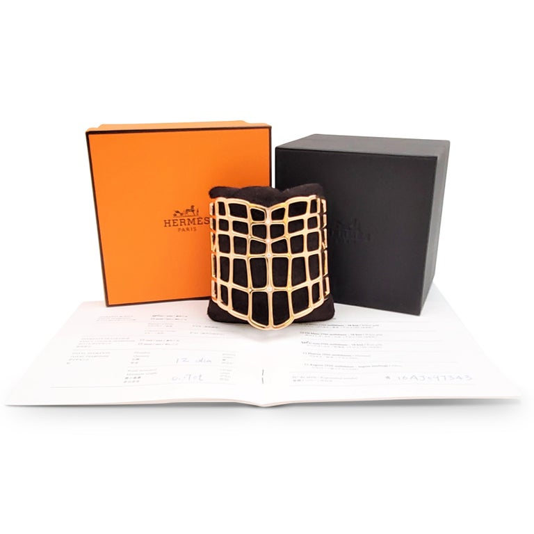 Hermes 'Niloticus Ombre' Rose Gold and Diamond Bracelet, Large Model For Sale 3