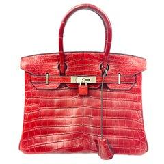 Hermès Niloticus Red Crocodile Leather Birkin 30 Handbag