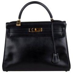 Hermès Noir Box Leather Kelly Retourne 32