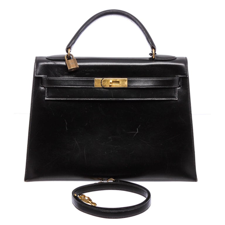 Hermes Noir Box Leather Kelly Sellier 32 Bag For Sale 7