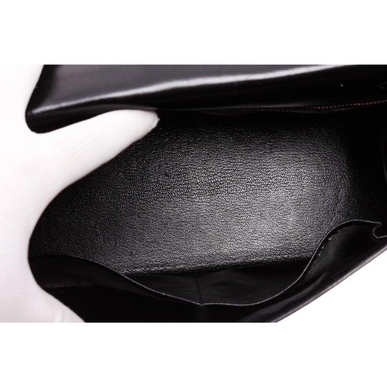 Hermes Noir Box Leather Kelly Sellier 32 Bag For Sale 8