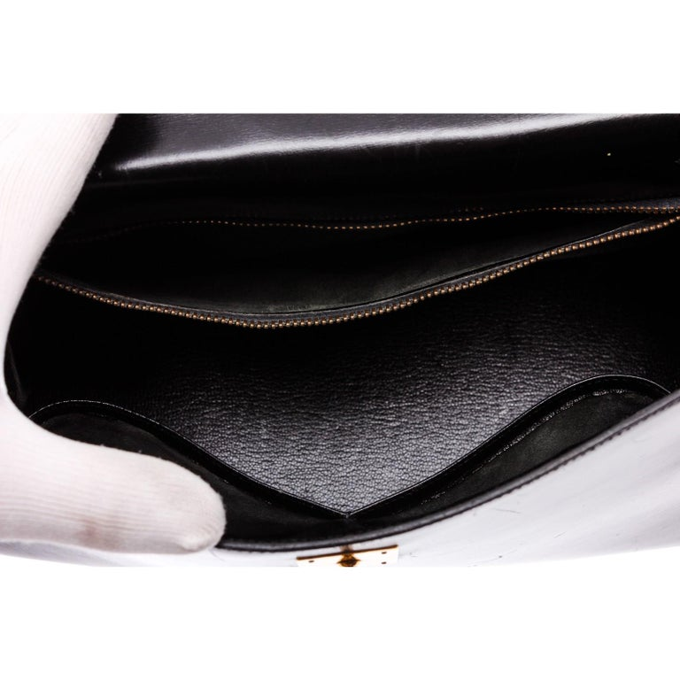 Hermes Noir Box Leather Kelly Sellier 32 Bag For Sale 9