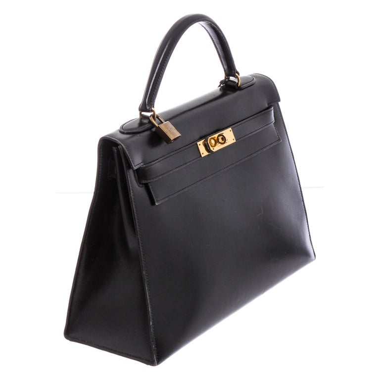 Hermes Noir Box Leather Kelly Sellier 32 Bag In Good Condition For Sale In Irvine, CA