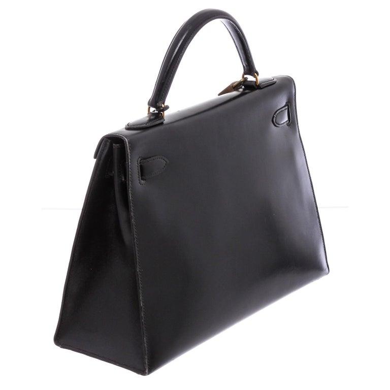 Hermes Noir Box Leather Kelly Sellier 32 Bag For Sale 1