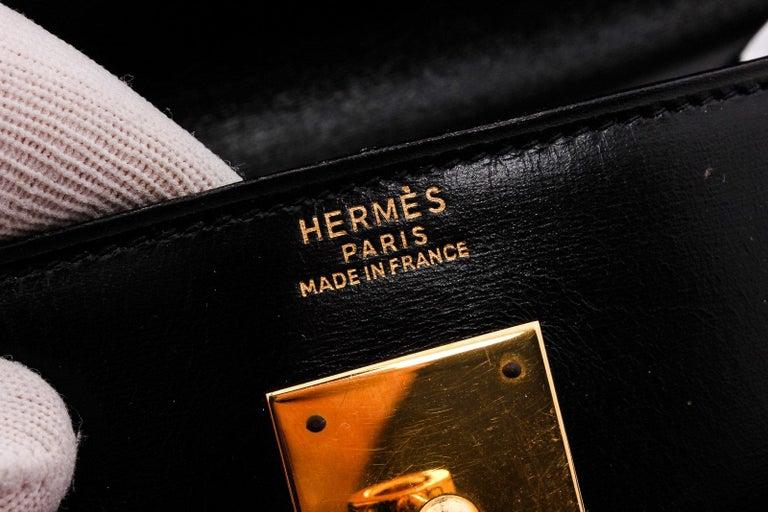 Women's Hermes Noir Box Leather Kelly Sellier 32 Bag For Sale