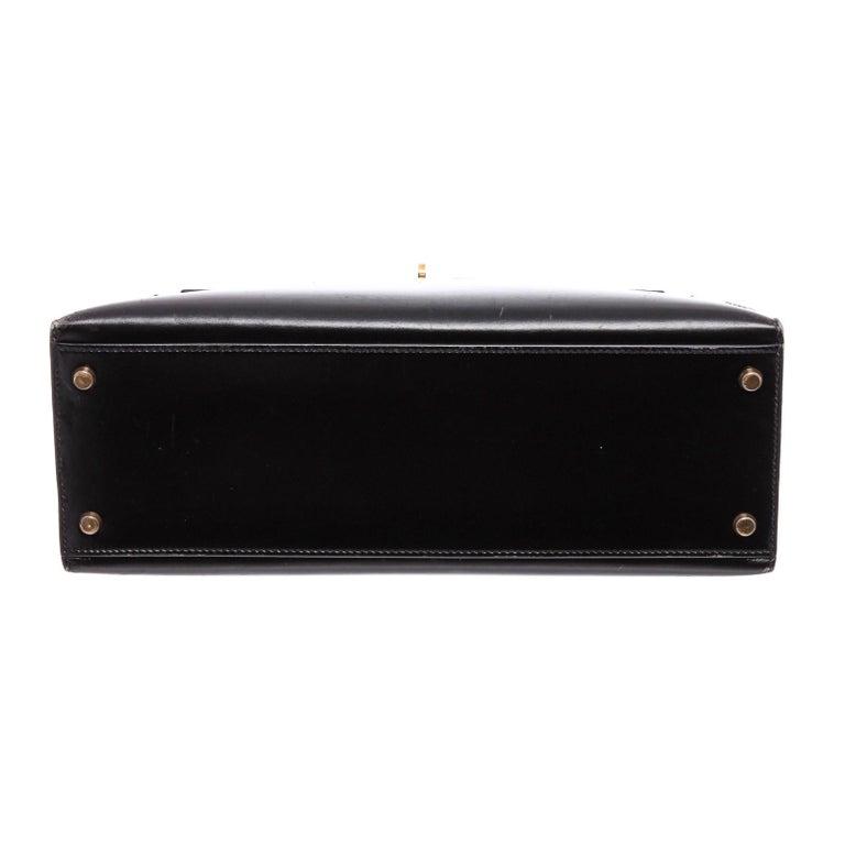 Hermes Noir Box Leather Kelly Sellier 32 Bag For Sale 2