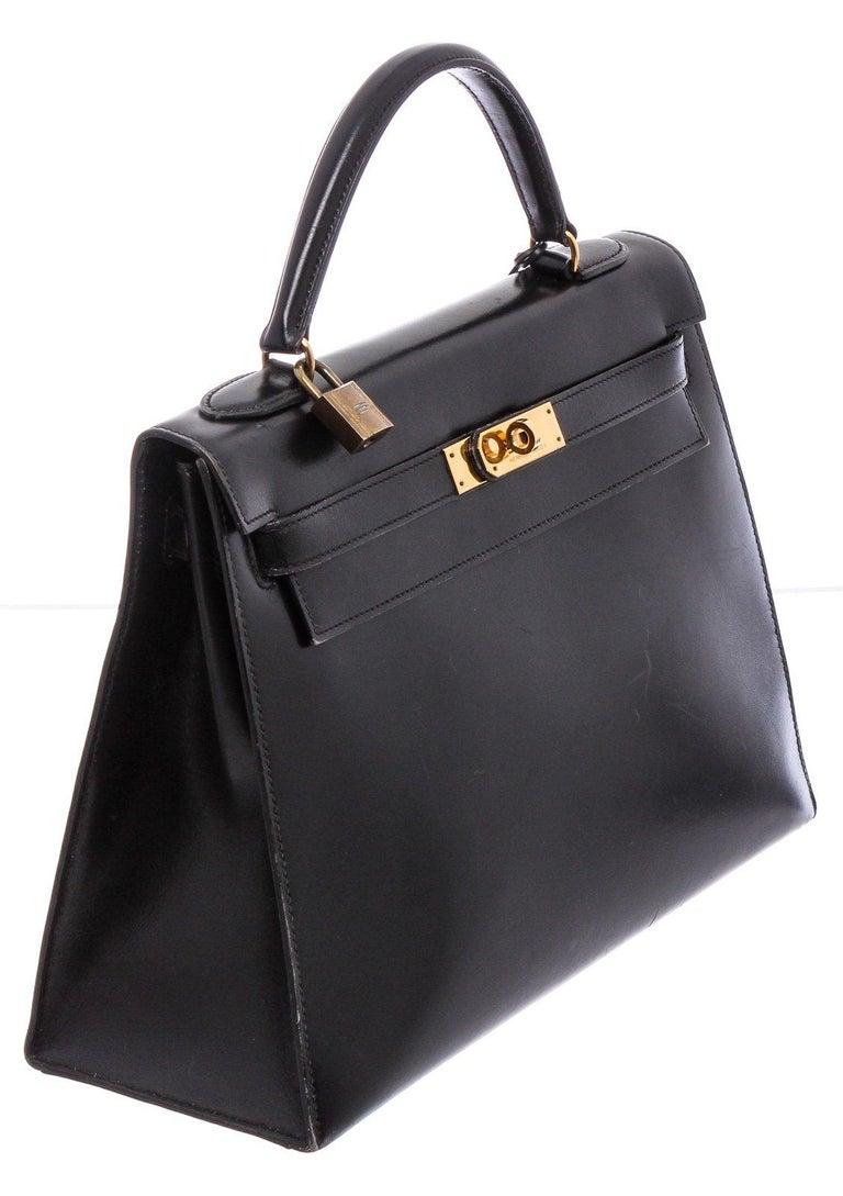 Hermes Noir Box Leather Kelly Sellier 32 Bag For Sale 3