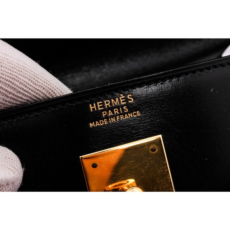 Hermes Noir Box Leather Kelly Sellier 32 Bag For Sale 5