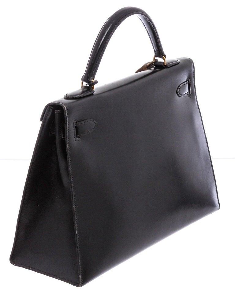 Hermes Noir Box Leather Kelly Sellier 32 Bag For Sale 4