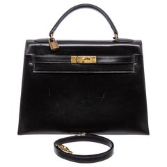 Hermes Noir Box Leather Kelly Sellier 32 Bag