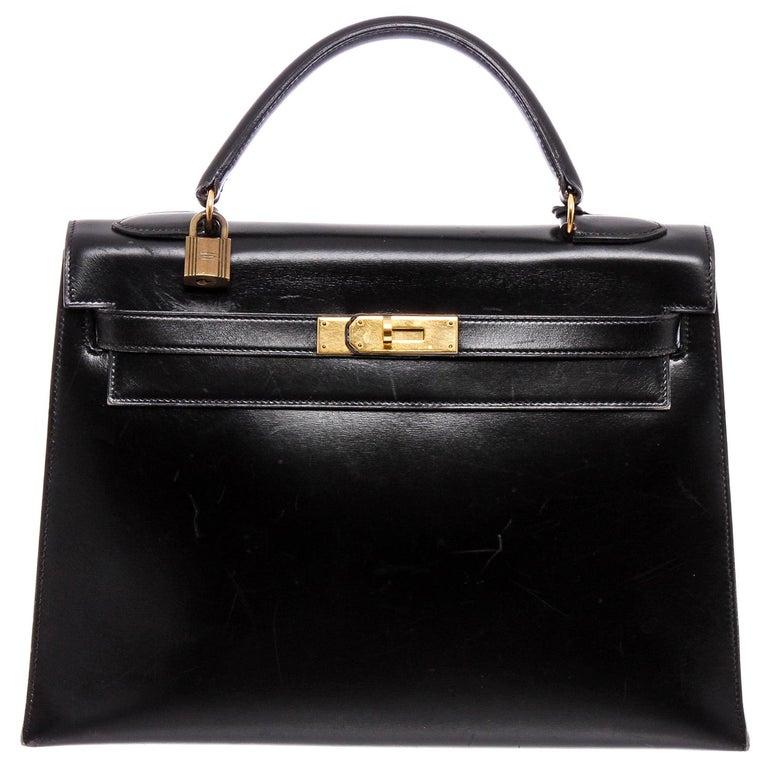 Hermes Noir Box Leather Kelly Sellier 32 Bag For Sale