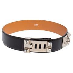 Hermes Noir Box Leather Palladium Plated Collier de Chien Belt 75 CM