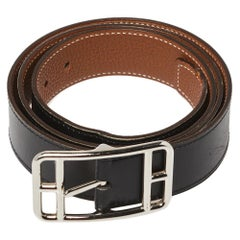 Hermes Noir/Gold Box and Togo Leather Cape Cod Reversible Belt 95 CM