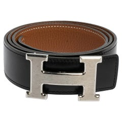 Hermes Noir/Gold Chamonix and Togo Leather Constance Reversible Belt 85 CM