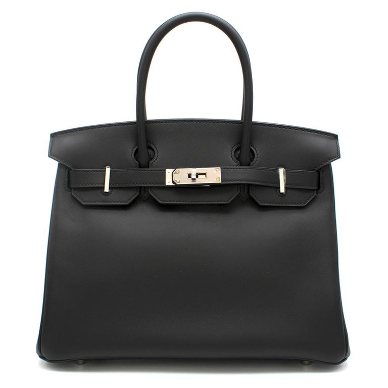 Hermes Noir Jonathan Leather 30cm Birkin  Jonathan leather is a new leather from Hermes, this has the smooth, supple look of swift leather however, has more structure like the classic box leather. Sought after and hard to find  - 2019 - Brand New