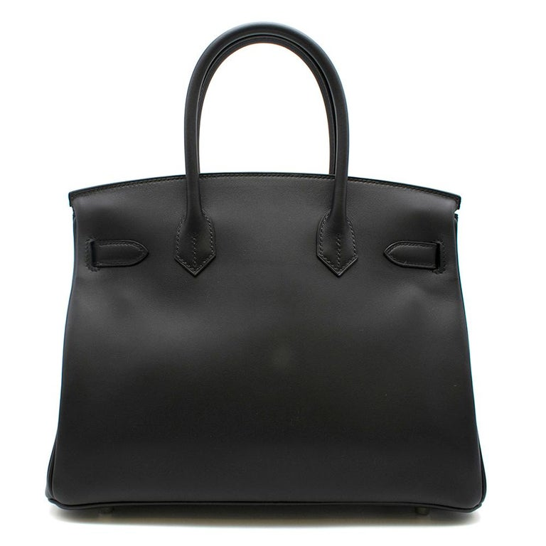 Women's Hermes Noir Jonathan Leather 30cm Birkin - Full Set For Sale