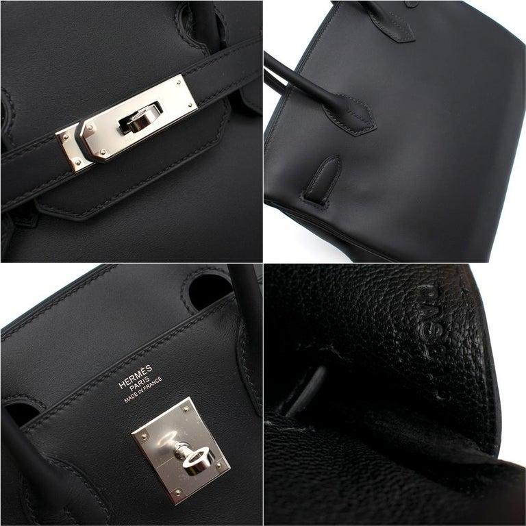 Hermes Noir Jonathan Leather 30cm Birkin - Full Set For Sale 3