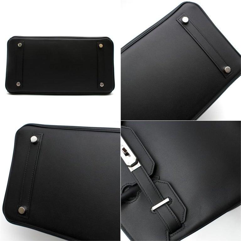 Hermes Noir Jonathan Leather 30cm Birkin - Full Set For Sale 4