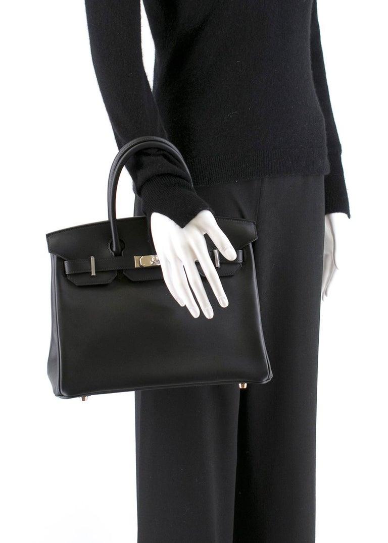 Hermes Noir Jonathan Leather 30cm Birkin - Full Set For Sale 5