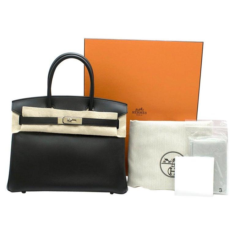 Hermes Noir Jonathan Leather 30cm Birkin - Full Set For Sale