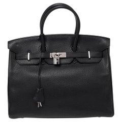Hermes Noir Togo Leather Palladium Plated Birkin 35 Bag