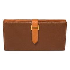 Hermes Noisette/Orange Chevre Leather Bearn Gusset Wallet