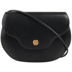 """HERMES """"Noumea"""" Black Leather Gold Hardware Shoulder Bag Crossbody Handbag"""