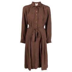 Hermes Nut Chain Printed Silk Shirt Dress