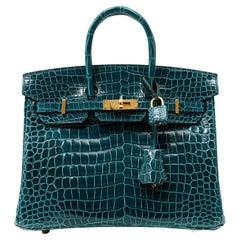 Hermès Ocean Green Porosus Crocodile 25 cm Birkin Bag